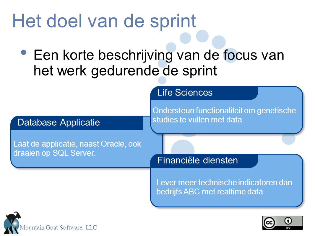 Mountain Goat Software, LLC Het doel van de sprint • Een korte beschrijving van de focus van het werk gedurende de sprint Database Applicatie Financië