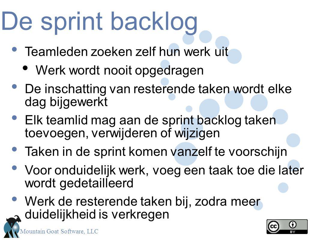 Mountain Goat Software, LLC De sprint backlog • Teamleden zoeken zelf hun werk uit • Werk wordt nooit opgedragen • De inschatting van resterende taken