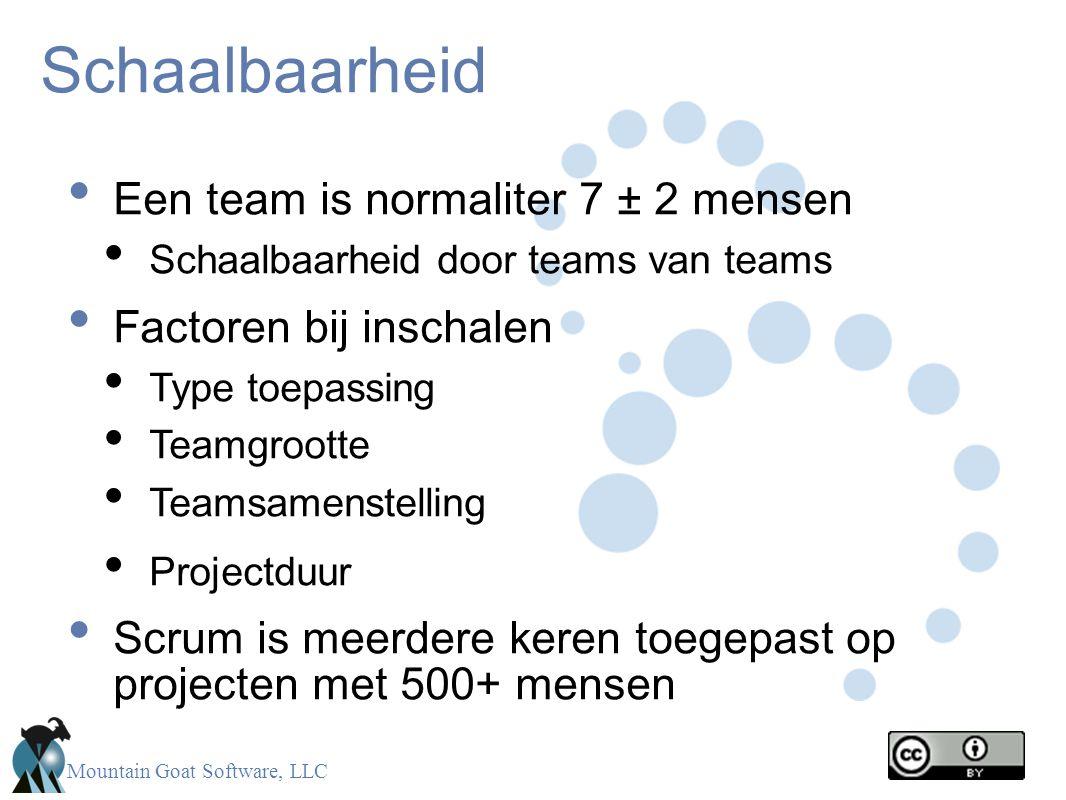 Mountain Goat Software, LLC Schaalbaarheid • Een team is normaliter 7 ± 2 mensen • Schaalbaarheid door teams van teams • Factoren bij inschalen • Type