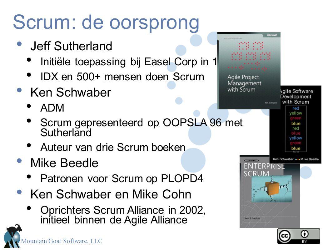 Mountain Goat Software, LLC Scrum: de oorsprong • Jeff Sutherland • Initiële toepassing bij Easel Corp in 1993 • IDX en 500+ mensen doen Scrum • Ken S