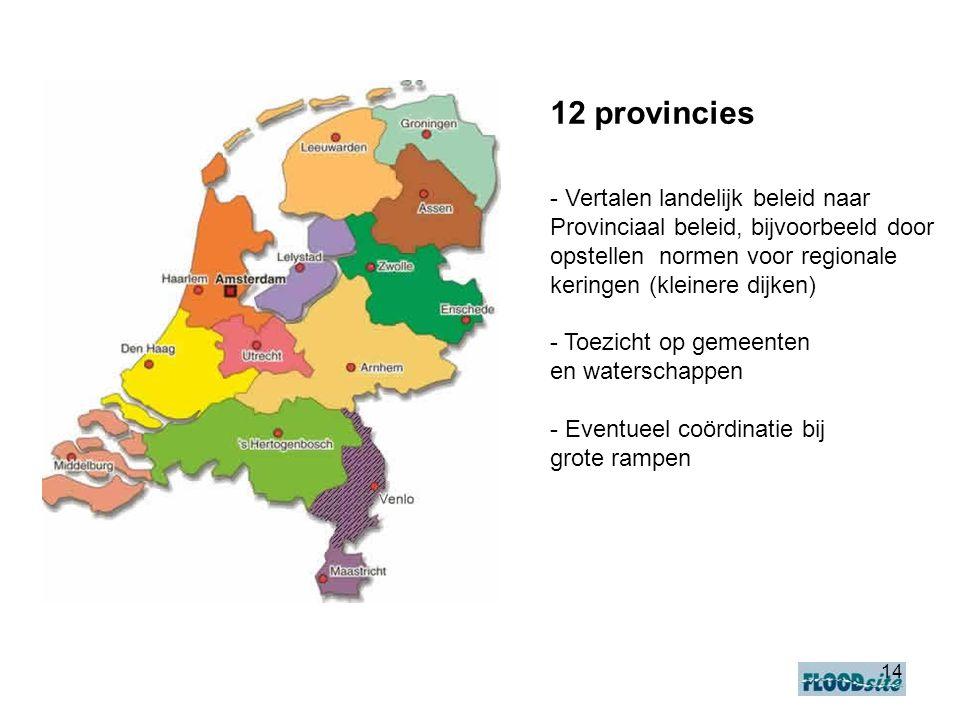 14 12 provincies - Vertalen landelijk beleid naar Provinciaal beleid, bijvoorbeeld door opstellen normen voor regionale keringen (kleinere dijken) - Toezicht op gemeenten en waterschappen - Eventueel coördinatie bij grote rampen