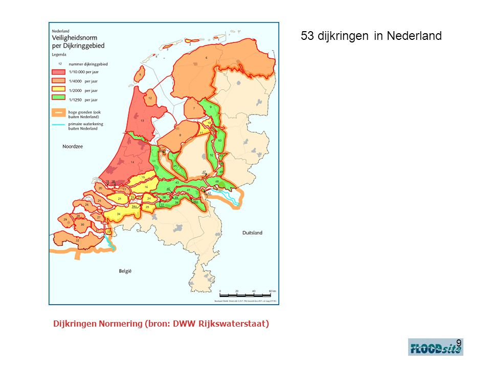 9 Dijkringen Normering (bron: DWW Rijkswaterstaat) 53 dijkringen in Nederland