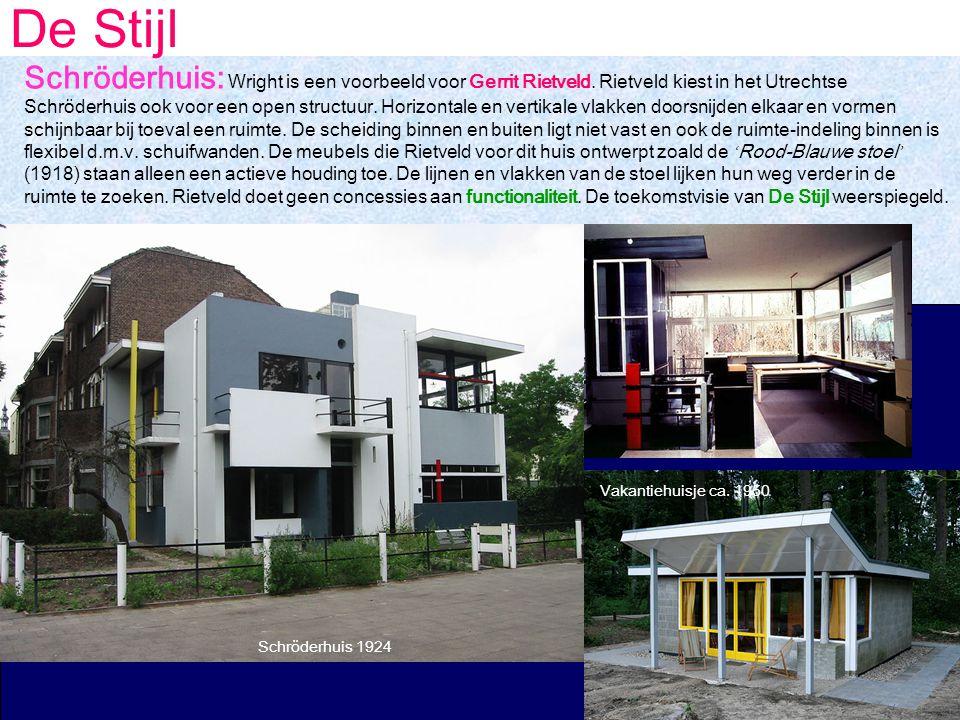 De Stijl Schröderhuis: Wright is een voorbeeld voor Gerrit Rietveld.