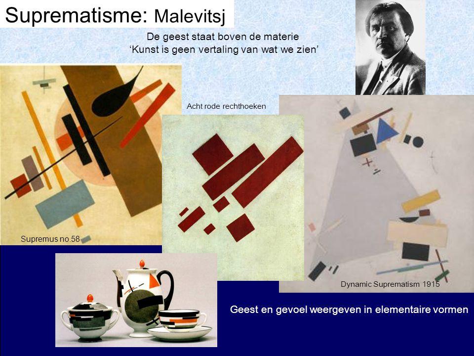 Suprematisme: Malevitsj Dynamic Suprematism 1915 De geest staat boven de materie 'Kunst is geen vertaling van wat we zien' Supremus no.58 Acht rode rechthoeken Geest en gevoel weergeven in elementaire vormen