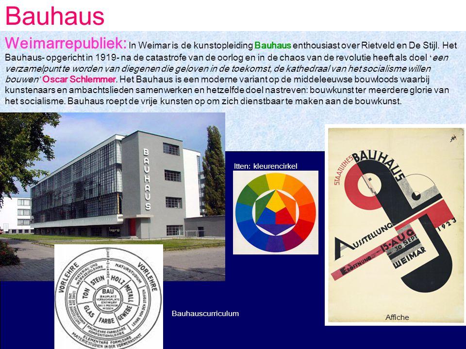 Bauhaus Bauhauscurriculum Affiche Itten: kleurencirkel Weimarrepubliek: In Weimar is de kunstopleiding Bauhaus enthousiast over Rietveld en De Stijl.