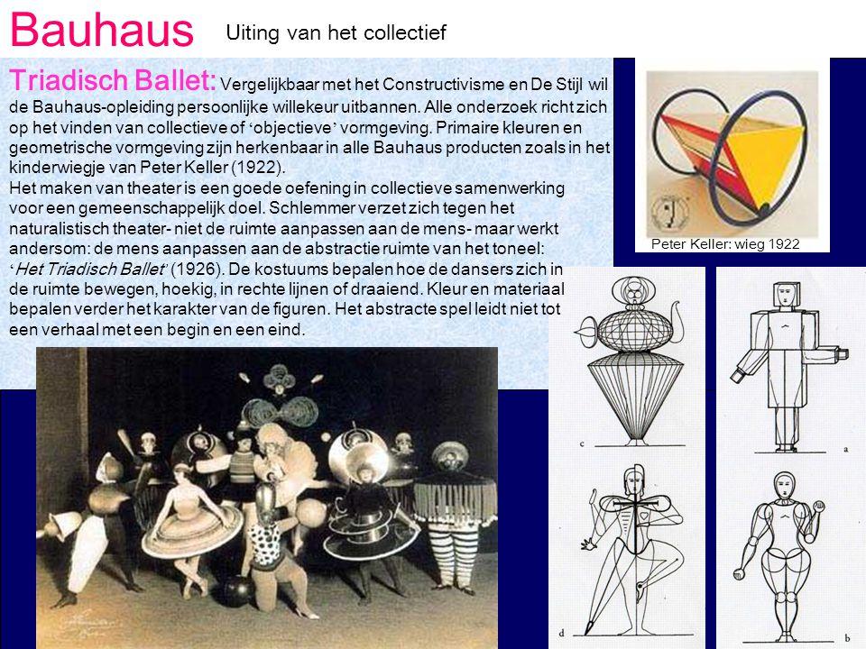 Bauhaus Uiting van het collectief Triadisch Ballet: Vergelijkbaar met het Constructivisme en De Stijl wil de Bauhaus-opleiding persoonlijke willekeur uitbannen.
