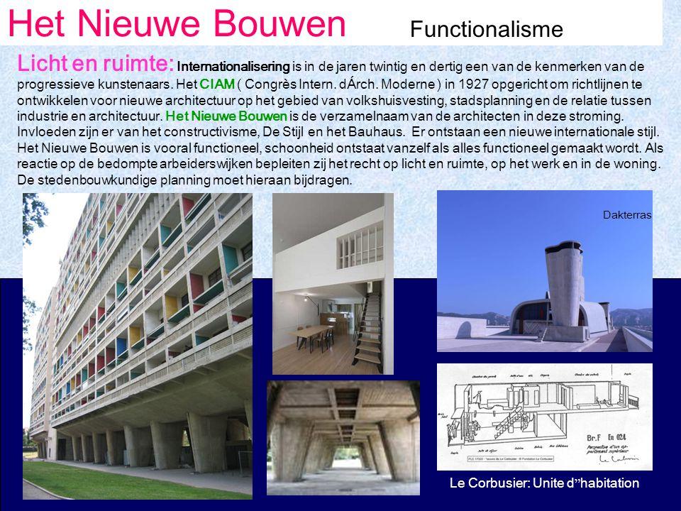 Het Nieuwe Bouwen Functionalisme Licht en ruimte: Internationalisering is in de jaren twintig en dertig een van de kenmerken van de progressieve kunstenaars.
