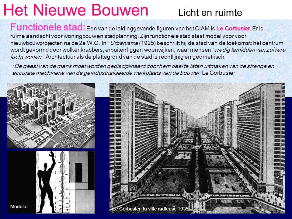 Het Nieuwe Bouwen Licht en ruimte Functionele stad: Een van de leidinggevende figuren van het CIAM is Le Corbusier.