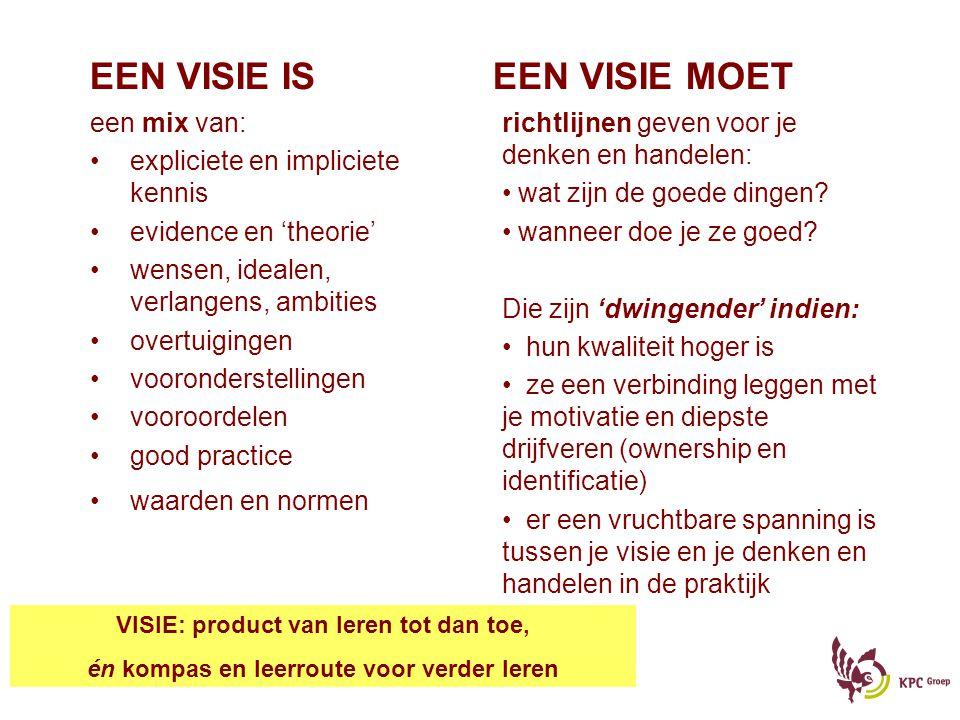 EEN VISIE IS EEN VISIE MOET een mix van: •expliciete en impliciete kennis •evidence en 'theorie' •wensen, idealen, verlangens, ambities •overtuigingen