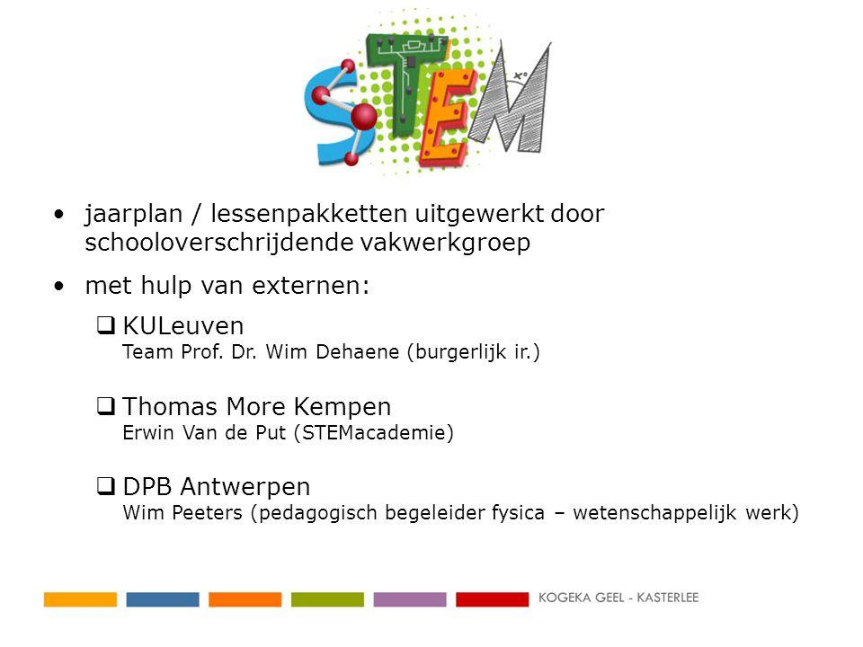 •jaarplan / lessenpakketten uitgewerkt door schooloverschrijdende vakwerkgroep •met hulp van externen:  KULeuven Team Prof.