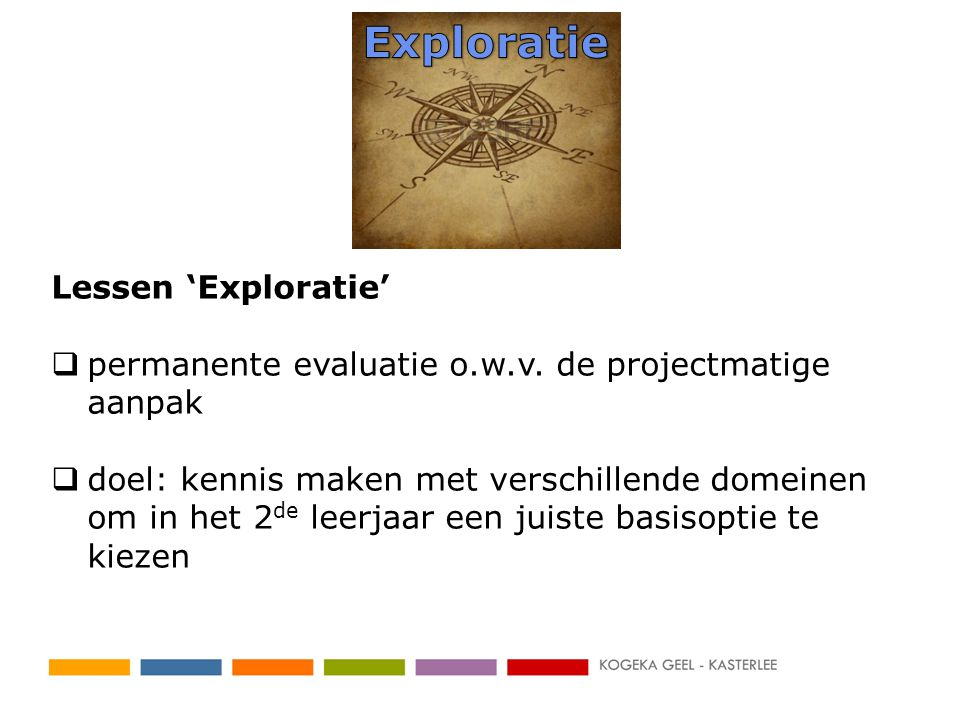 Lessen 'Exploratie'  permanente evaluatie o.w.v.