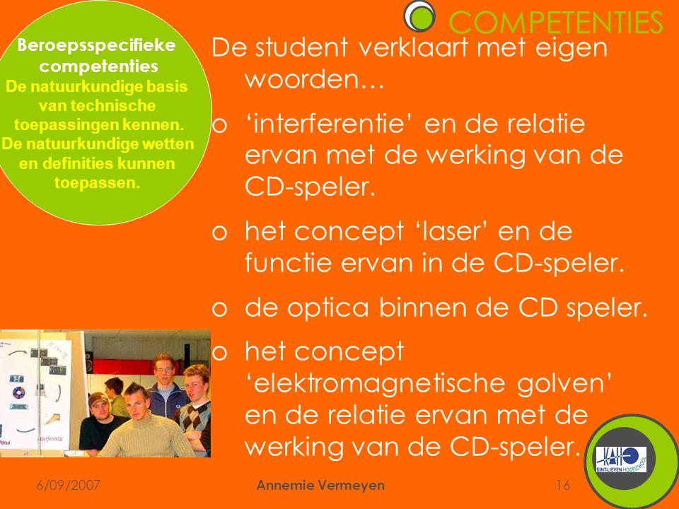 6/09/2007 Annemie Vermeyen 16 De student verklaart met eigen woorden… o'interferentie' en de relatie ervan met de werking van de CD-speler.