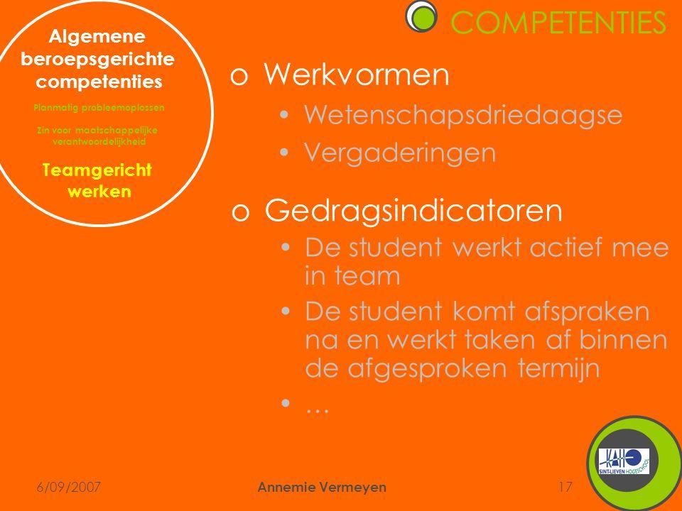 6/09/2007 Annemie Vermeyen 17 COMPETENTIES Algemene beroepsgerichte competenties Planmatig probleemoplossen Zin voor maatschappelijke verantwoordelijk
