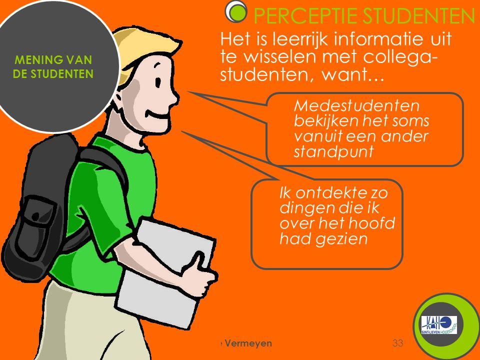 6/09/2007 Annemie Vermeyen 33 Het is leerrijk informatie uit te wisselen met collega- studenten, want… MENING VAN DE STUDENTEN Medestudenten bekijken