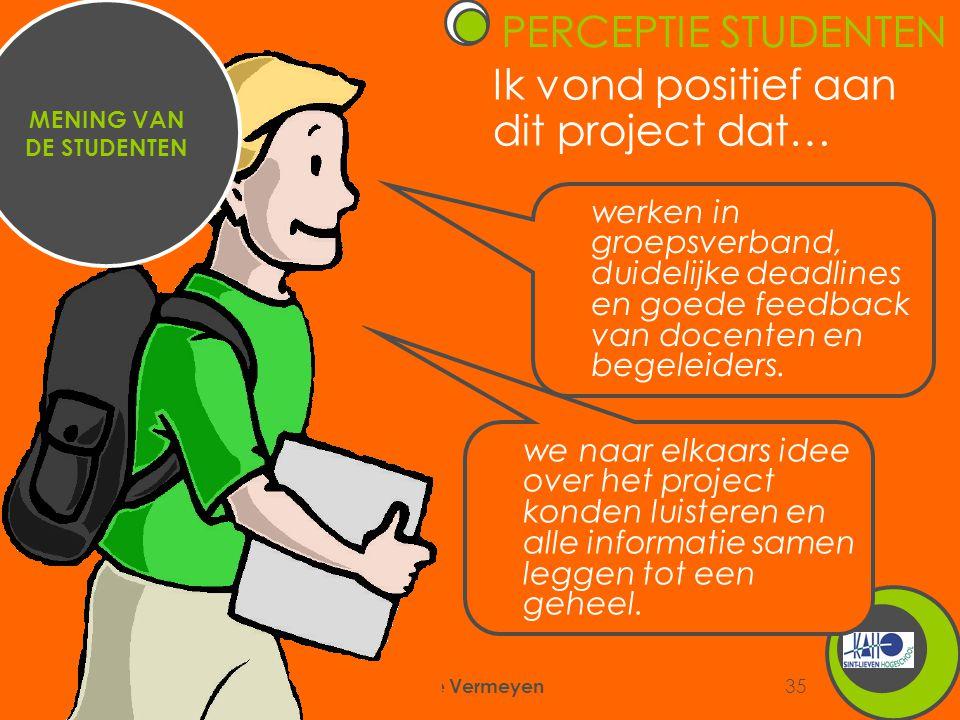 6/09/2007 Annemie Vermeyen 35 Ik vond positief aan dit project dat… MENING VAN DE STUDENTEN werken in groepsverband, duidelijke deadlines en goede feedback van docenten en begeleiders.