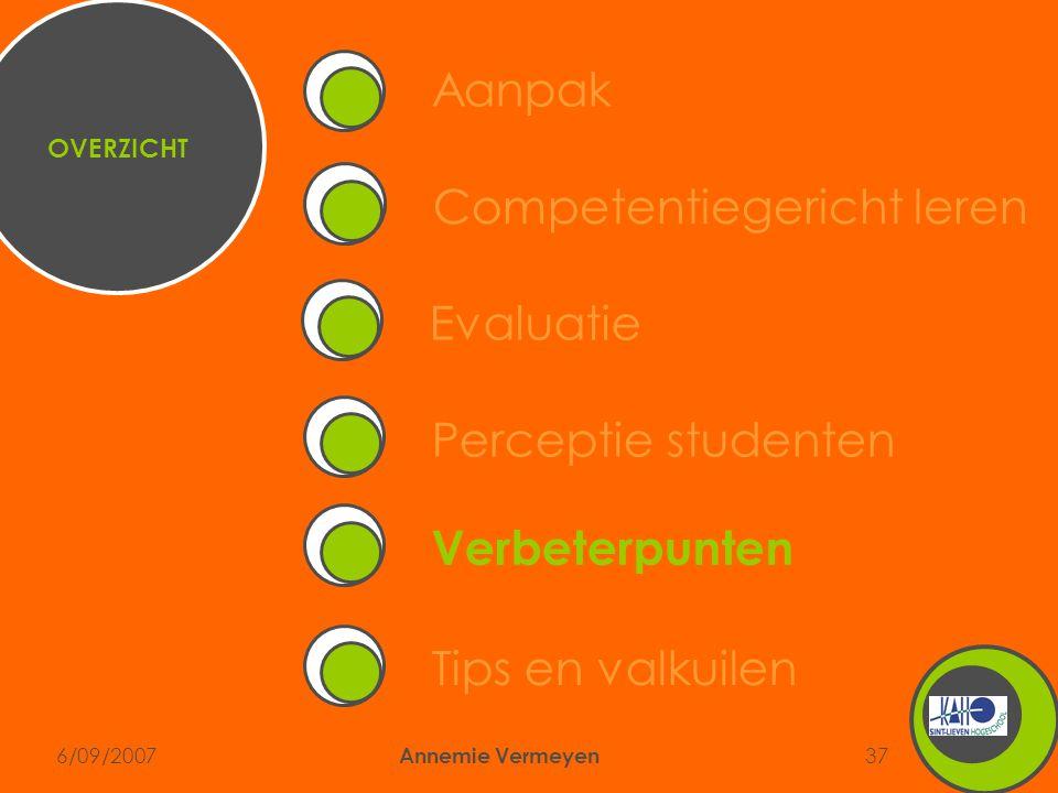 6/09/2007 Annemie Vermeyen 37 Competentiegericht leren Aanpak Perceptie studenten Verbeterpunten EvaluatieTips en valkuilen OVERZICHT