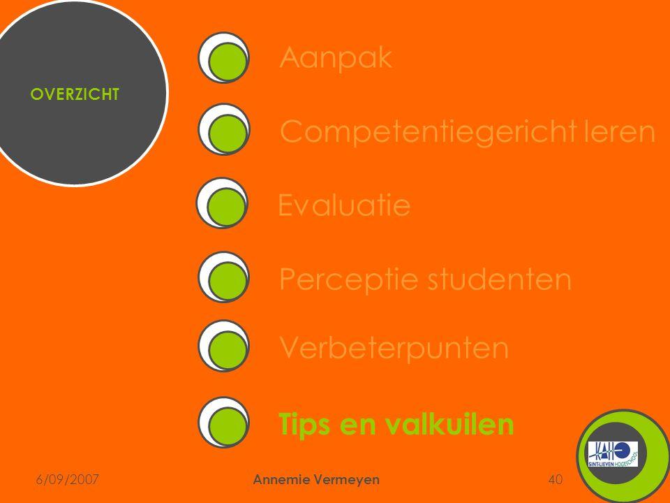 6/09/2007 Annemie Vermeyen 40 Competentiegericht leren Aanpak Perceptie studentenVerbeterpuntenEvaluatie Tips en valkuilen OVERZICHT