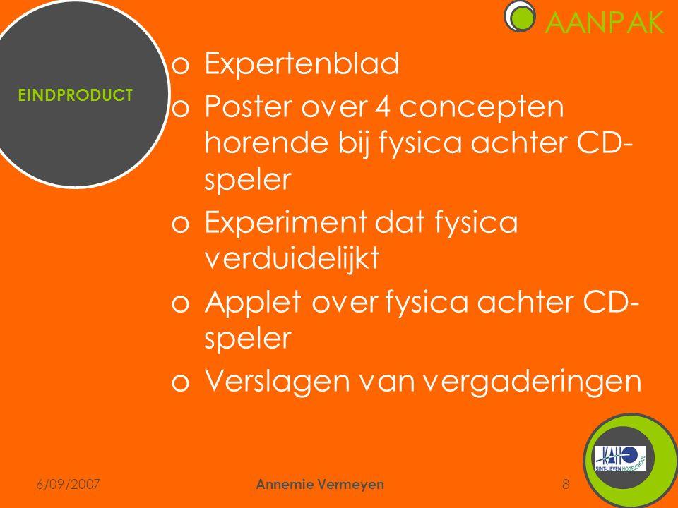 6/09/2007 Annemie Vermeyen 8 AANPAK EINDPRODUCT oExpertenblad oPoster over 4 concepten horende bij fysica achter CD- speler oExperiment dat fysica verduidelijkt oApplet over fysica achter CD- speler oVerslagen van vergaderingen