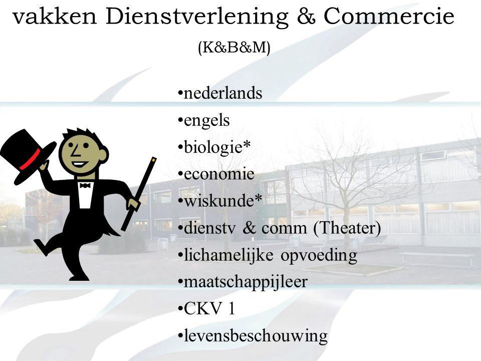 vakken handel & administratie K&B • •nederlands • •engels • •duits * • •wiskunde * • •economie • •handel & administratie 2x • •lichamelijke opvoeding • •maatschappijleer • •CKV 1 • •levensbeschouwing
