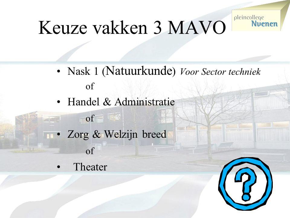 verplichte vakken 3 MAVO •Nederlands •Engels •Duits •Wiskunde •Geschiedenis •Aardrijkskunde •Biologie •NaSk-2 •Economie •Lich.