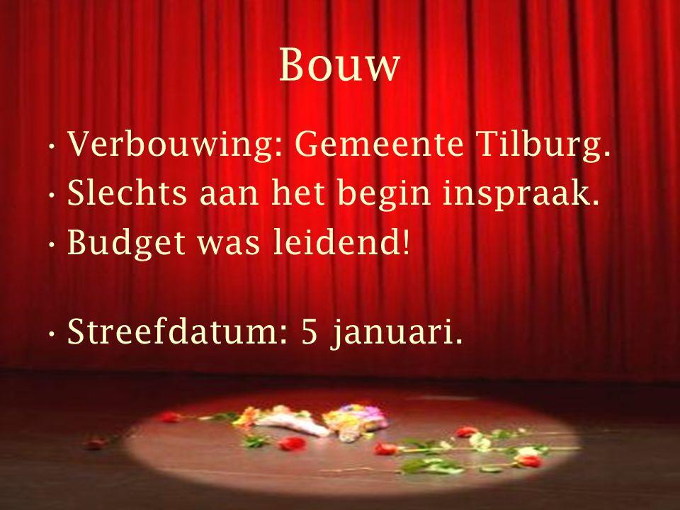 Bouw •Verbouwing: Gemeente Tilburg. •Slechts aan het begin inspraak.
