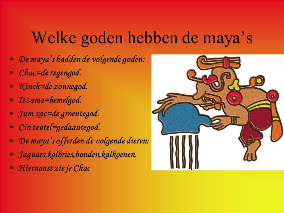 Kalender van de maya's –De kalender van de maya's –Men =vogel/aderlaar/wijzen –Ik=lucht/leven –Muluc=regen –Caban=kracht/aarde –Ami=dood –Asnap=vuursteen/mes •Dat waren een paar kalender namen