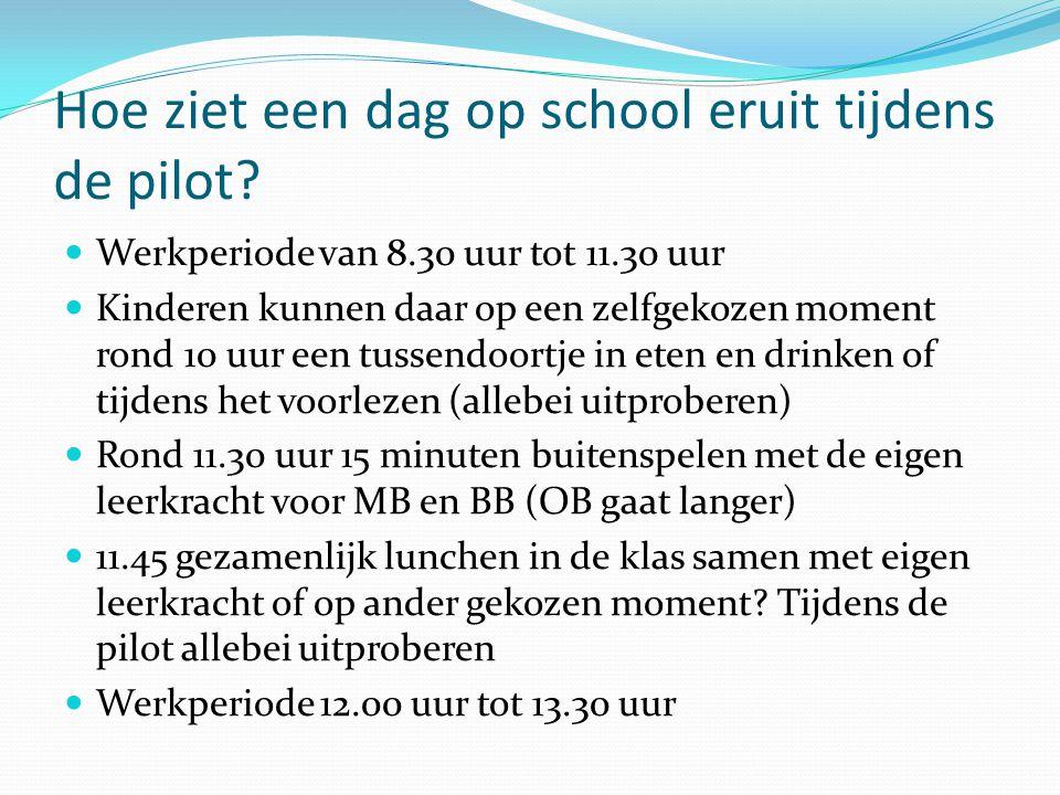 Hoe ziet een dag op school eruit tijdens de pilot?  Werkperiode van 8.30 uur tot 11.30 uur  Kinderen kunnen daar op een zelfgekozen moment rond 10 u