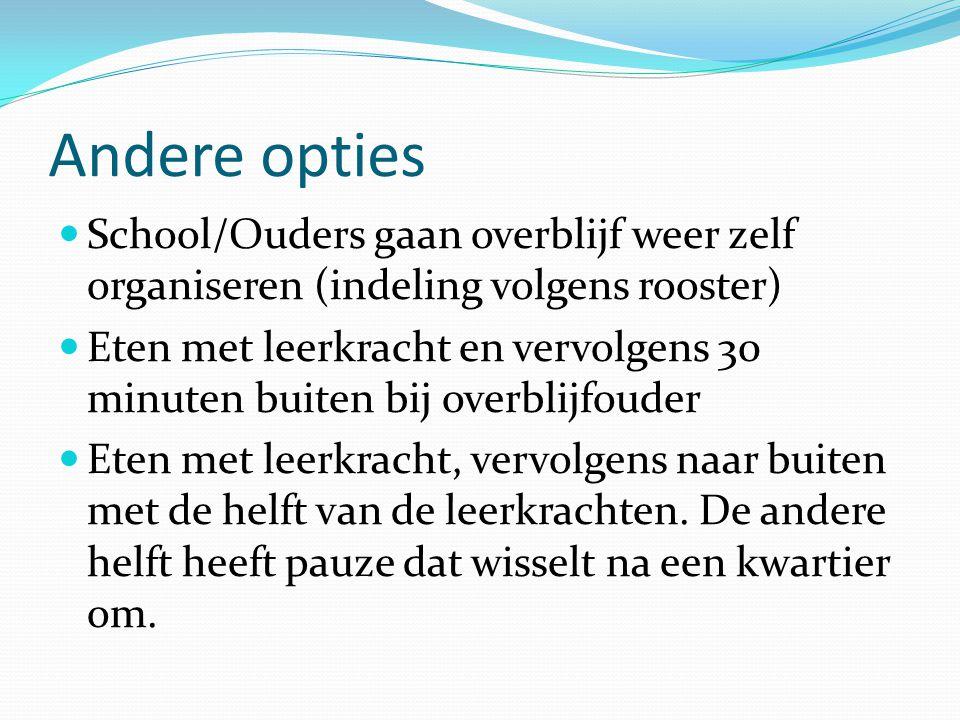 Andere opties  School/Ouders gaan overblijf weer zelf organiseren (indeling volgens rooster)  Eten met leerkracht en vervolgens 30 minuten buiten bi