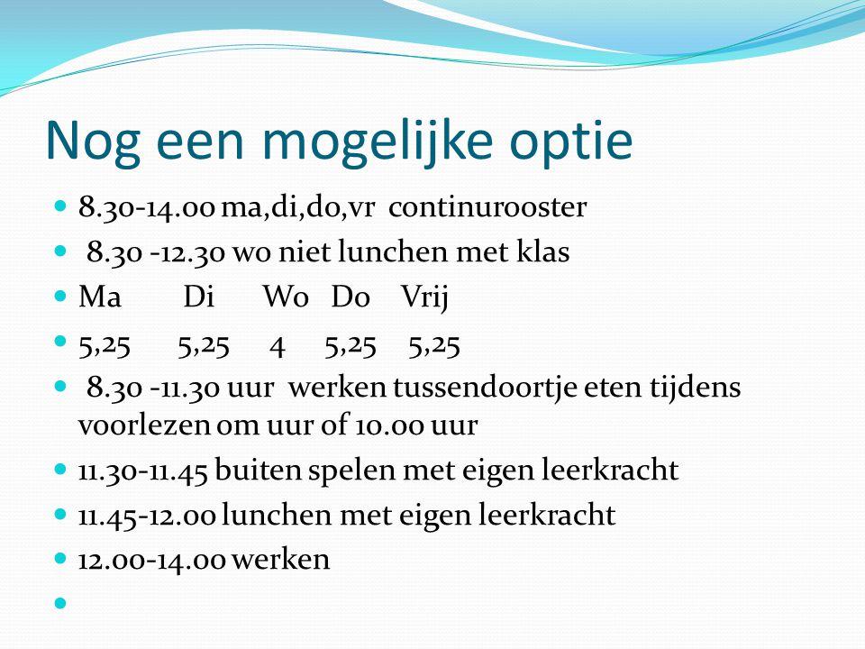 Nog een mogelijke optie  8.30-14.00 ma,di,do,vr continurooster  8.30 -12.30 wo niet lunchen met klas  Ma Di Wo Do Vrij  5,25 5,25 4 5,25 5,25  8.