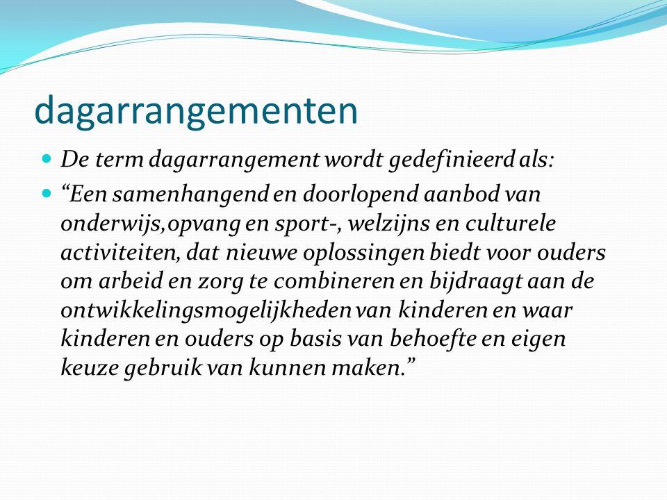"""dagarrangementen  De term dagarrangement wordt gedefinieerd als:  """"Een samenhangend en doorlopend aanbod van onderwijs,opvang en sport-, welzijns en"""