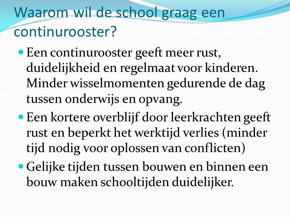 Waarom wil de school graag een continurooster?  Een continurooster geeft meer rust, duidelijkheid en regelmaat voor kinderen. Minder wisselmomenten g