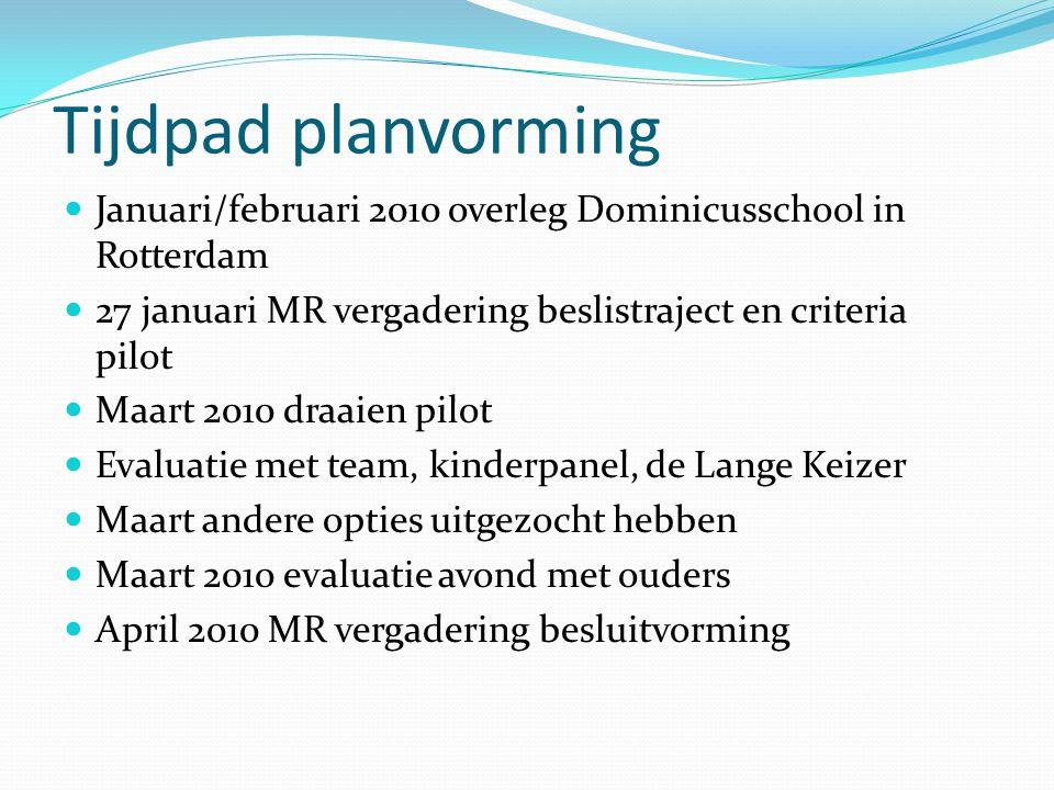 Tijdpad planvorming  Januari/februari 2010 overleg Dominicusschool in Rotterdam  27 januari MR vergadering beslistraject en criteria pilot  Maart 2