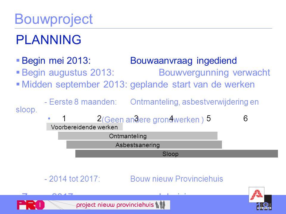 PLANNING  Begin mei 2013: Bouwaanvraag ingediend  Begin augustus 2013: Bouwvergunning verwacht  Midden september 2013: geplande start van de werken - Eerste 8 maanden: Ontmanteling, asbestverwijdering en sloop.
