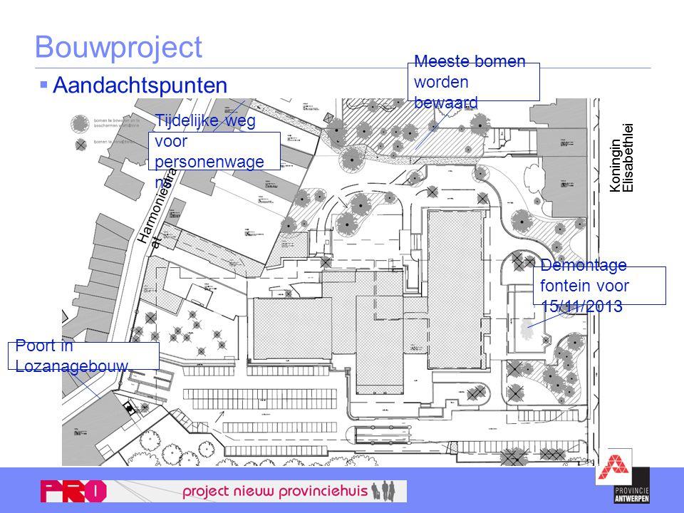 Bouwproject  Aandachtspunten Poort in Lozanagebouw Demontage fontein voor 15/11/2013 Tijdelijke weg voor personenwage ns Meeste bomen worden bewaard