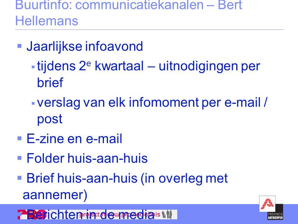 Buurtinfo: communicatiekanalen – Bert Hellemans  Jaarlijkse infoavond  tijdens 2 e kwartaal – uitnodigingen per brief  verslag van elk infomoment p