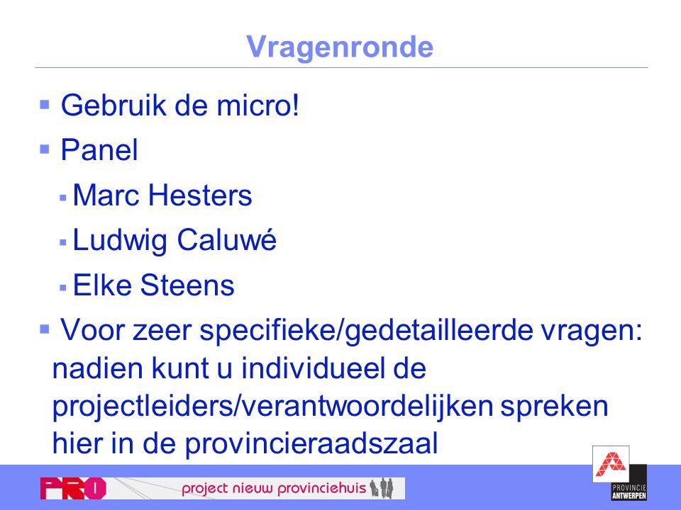 Vragenronde  Gebruik de micro!  Panel  Marc Hesters  Ludwig Caluwé  Elke Steens  Voor zeer specifieke/gedetailleerde vragen: nadien kunt u indiv