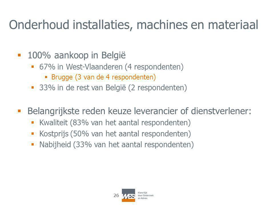 26 Onderhoud installaties, machines en materiaal  100% aankoop in België  67% in West-Vlaanderen (4 respondenten)  Brugge (3 van de 4 respondenten)  33% in de rest van België (2 respondenten)  Belangrijkste reden keuze leverancier of dienstverlener:  Kwaliteit (83% van het aantal respondenten)  Kostprijs (50% van het aantal respondenten)  Nabijheid (33% van het aantal respondenten)