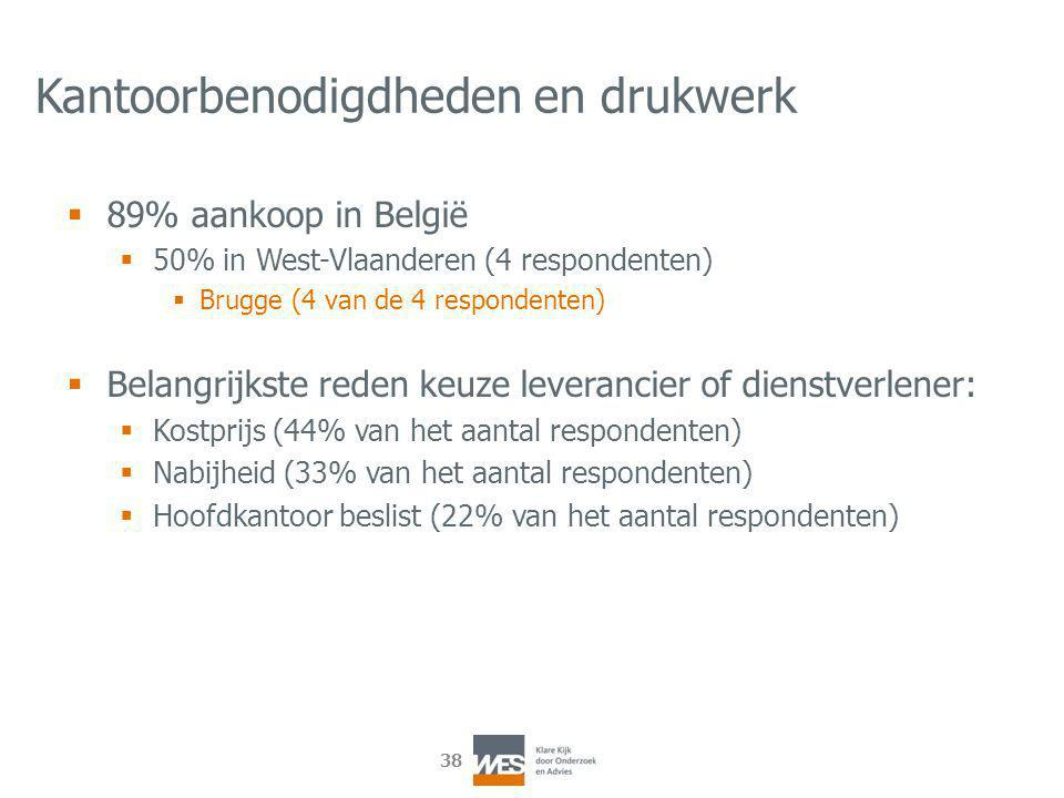 38 Kantoorbenodigdheden en drukwerk  89% aankoop in België  50% in West-Vlaanderen (4 respondenten)  Brugge (4 van de 4 respondenten)  Belangrijkste reden keuze leverancier of dienstverlener:  Kostprijs (44% van het aantal respondenten)  Nabijheid (33% van het aantal respondenten)  Hoofdkantoor beslist (22% van het aantal respondenten)