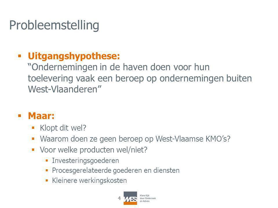 4 Probleemstelling  Uitgangshypothese: Ondernemingen in de haven doen voor hun toelevering vaak een beroep op ondernemingen buiten West-Vlaanderen  Maar:  Klopt dit wel.