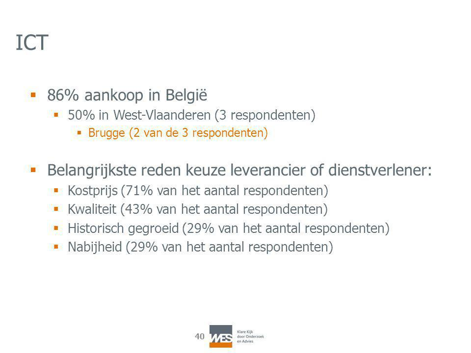 40 ICT  86% aankoop in België  50% in West-Vlaanderen (3 respondenten)  Brugge (2 van de 3 respondenten)  Belangrijkste reden keuze leverancier of dienstverlener:  Kostprijs (71% van het aantal respondenten)  Kwaliteit (43% van het aantal respondenten)  Historisch gegroeid (29% van het aantal respondenten)  Nabijheid (29% van het aantal respondenten)