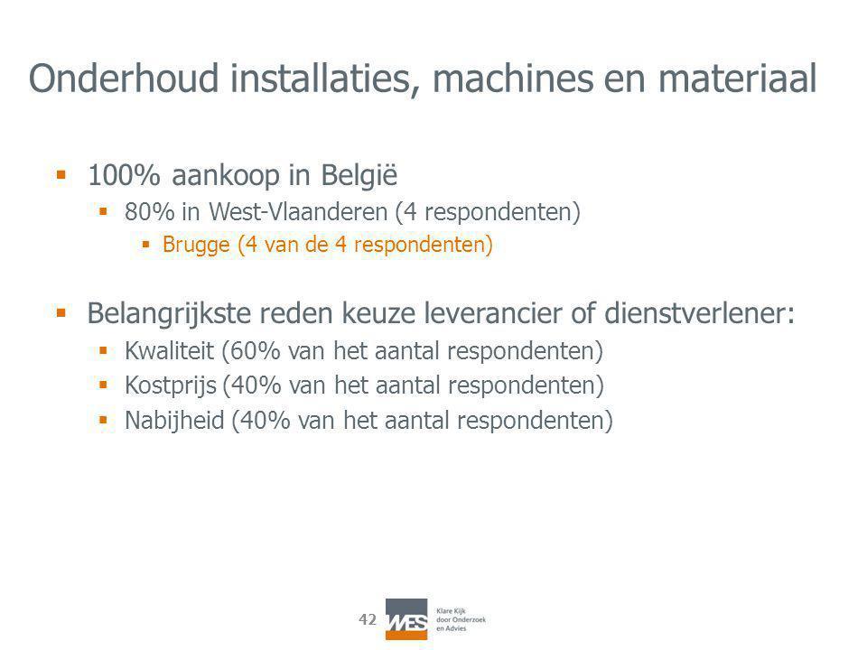 42 Onderhoud installaties, machines en materiaal  100% aankoop in België  80% in West-Vlaanderen (4 respondenten)  Brugge (4 van de 4 respondenten)  Belangrijkste reden keuze leverancier of dienstverlener:  Kwaliteit (60% van het aantal respondenten)  Kostprijs (40% van het aantal respondenten)  Nabijheid (40% van het aantal respondenten)