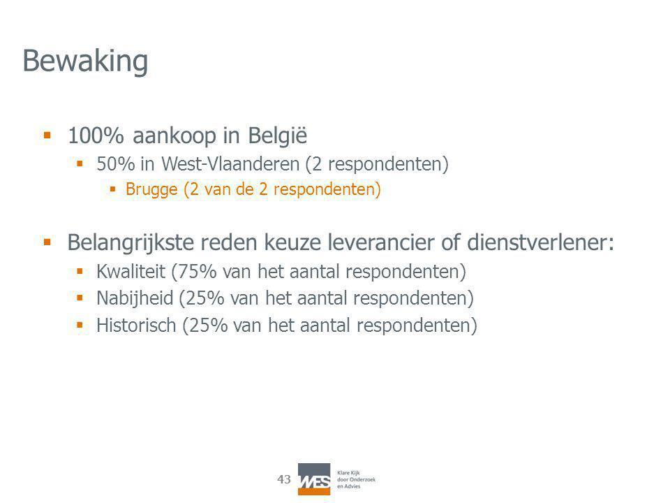 43 Bewaking  100% aankoop in België  50% in West-Vlaanderen (2 respondenten)  Brugge (2 van de 2 respondenten)  Belangrijkste reden keuze leverancier of dienstverlener:  Kwaliteit (75% van het aantal respondenten)  Nabijheid (25% van het aantal respondenten)  Historisch (25% van het aantal respondenten)