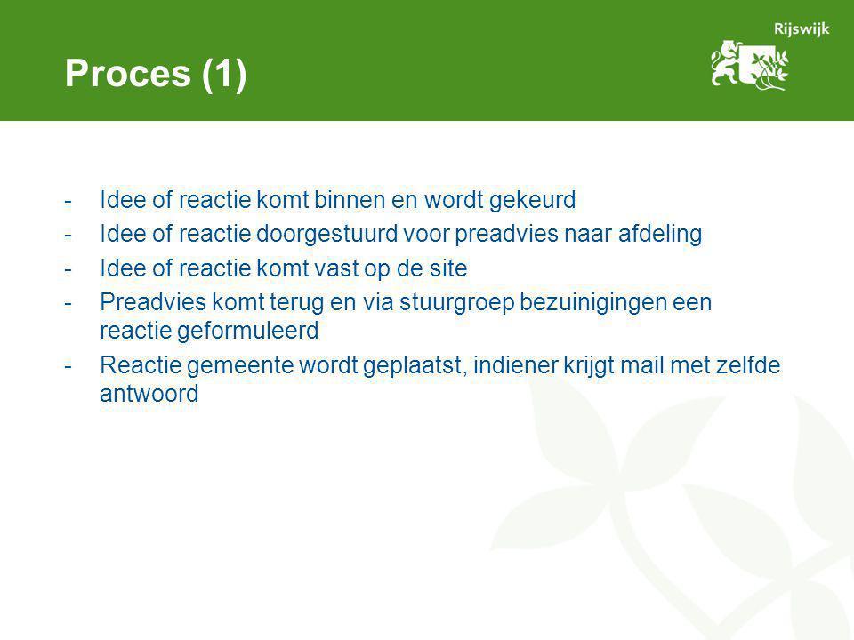 Proces (1) -Idee of reactie komt binnen en wordt gekeurd -Idee of reactie doorgestuurd voor preadvies naar afdeling -Idee of reactie komt vast op de s