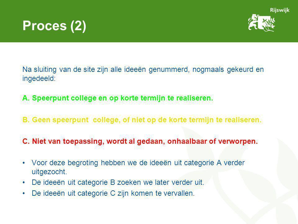 Proces (2) Na sluiting van de site zijn alle ideeën genummerd, nogmaals gekeurd en ingedeeld: A. Speerpunt college en op korte termijn te realiseren.