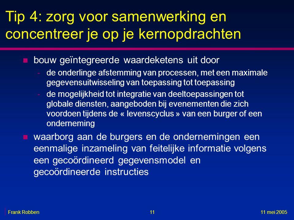 1111 mei 2005Frank Robben Tip 4: zorg voor samenwerking en concentreer je op je kernopdrachten n bouw geïntegreerde waardeketens uit door -de onderlin