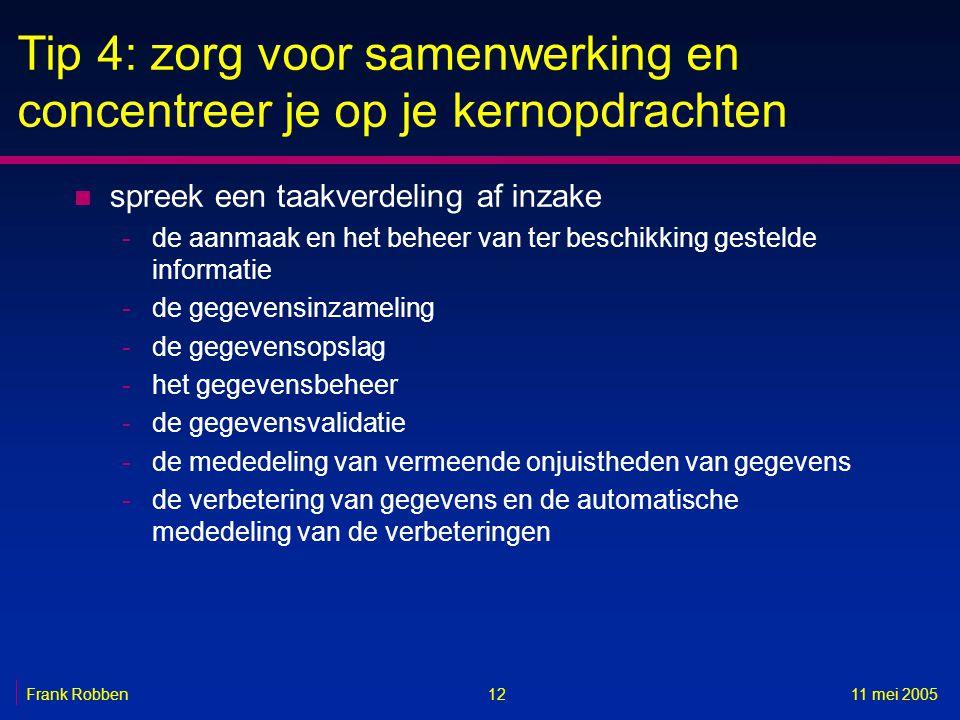 1211 mei 2005Frank Robben Tip 4: zorg voor samenwerking en concentreer je op je kernopdrachten n spreek een taakverdeling af inzake -de aanmaak en het