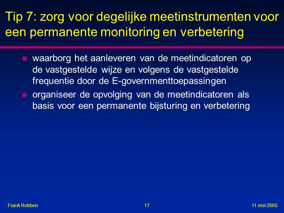 1711 mei 2005Frank Robben Tip 7: zorg voor degelijke meetinstrumenten voor een permanente monitoring en verbetering n waarborg het aanleveren van de m