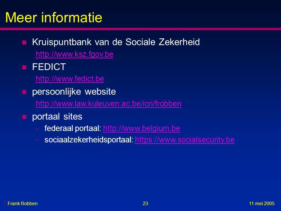 Meer informatie 2311 mei 2005 n Kruispuntbank van de Sociale Zekerheid http://www.ksz.fgov.be n FEDICT http://www.fedict.be n persoonlijke website http://www.law.kuleuven.ac.be/icri/frobben n portaal sites -federaal portaal: http://www.belgium.behttp://www.belgium.be -sociaalzekerheidsportaal: https://www.socialsecurity.behttps://www.socialsecurity.be Frank Robben