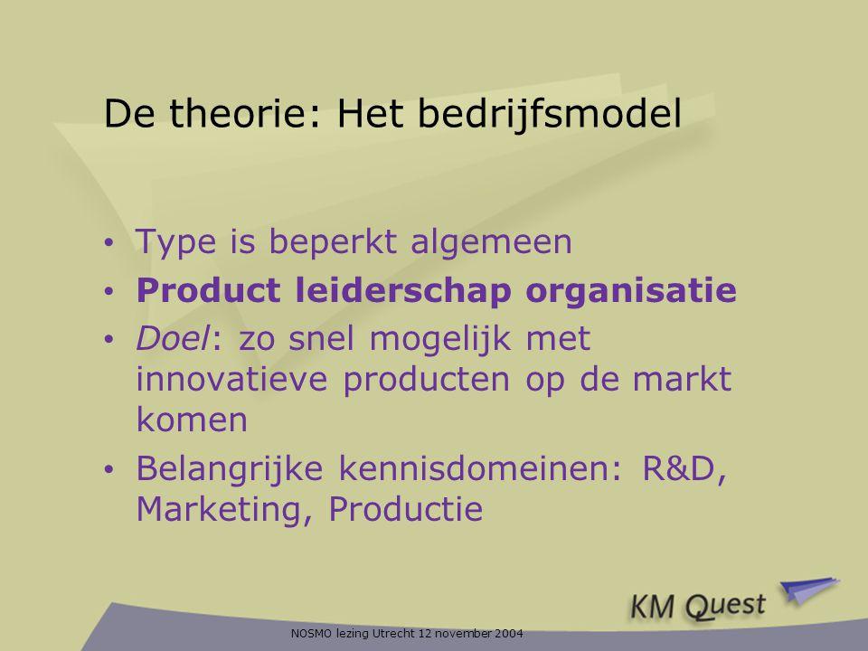NOSMO lezing Utrecht 12 november 2004 De theorie: Het bedrijfsmodel • Type is beperkt algemeen • Product leiderschap organisatie • Doel: zo snel mogel
