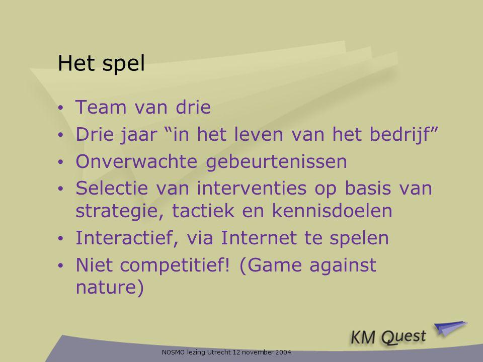 """NOSMO lezing Utrecht 12 november 2004 Het spel • Team van drie • Drie jaar """"in het leven van het bedrijf"""" • Onverwachte gebeurtenissen • Selectie van"""